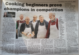 """Wangaratta Chronicle article """"Cooking beginners prove champions in competition"""""""