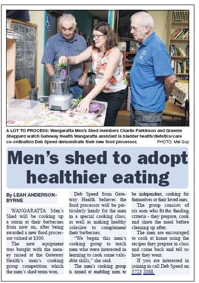 Wangaratta Chronicle article about the Men's shed adopting healthier eating