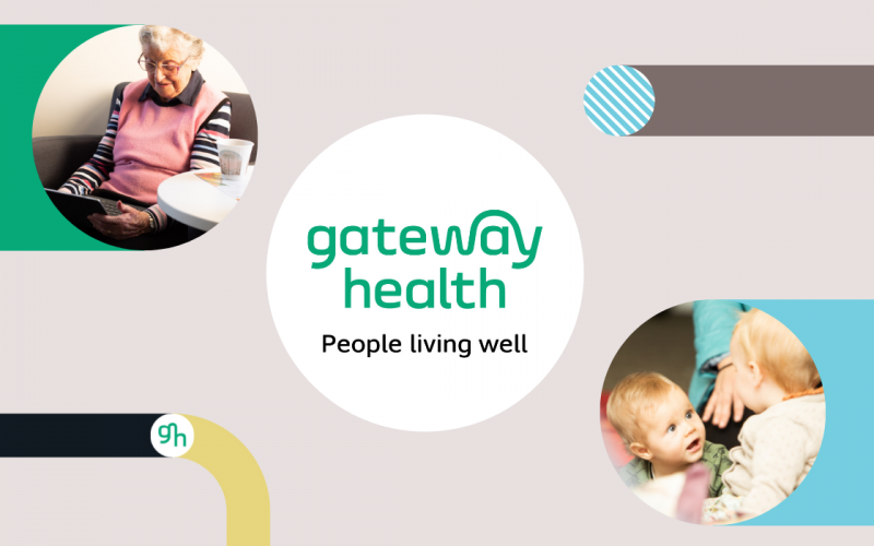 Screenshot of Gateway Health logo with tag line People living well on beige background with coloured lines and circle with image of elderly woman on laptop and circle with image of two babies facing each other